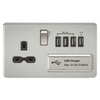 Knightsbridge Screwless 13A 1 Gang Switched Socket With Quad USB Outlet - Brushed Chrome
