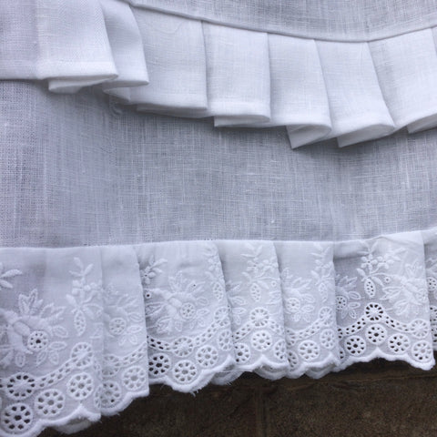 Eyelet lace and linen ruffles Linen and letters