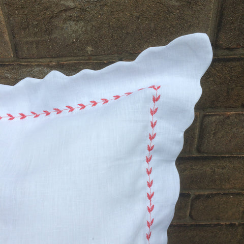 scalloped linen pillowcase