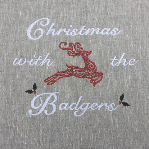 Personalised Table Runner Embroidery with reindeer