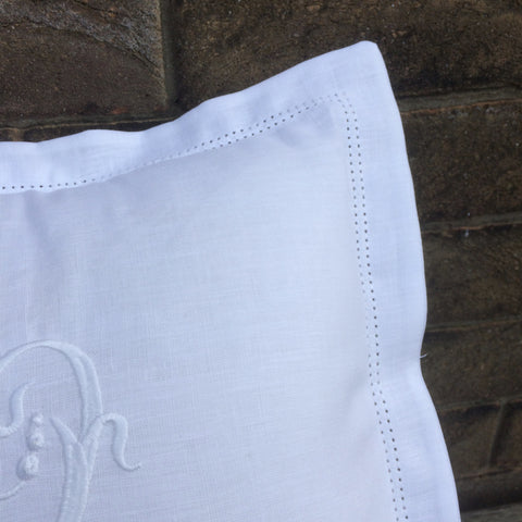 Monogram Linen Bed Cushion
