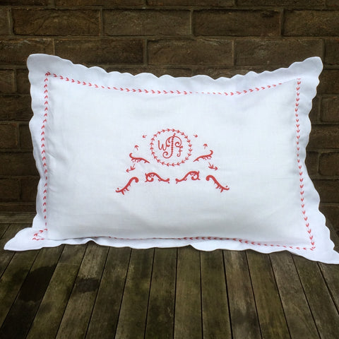 Red Monogram Linen Pillowcase