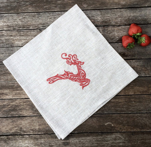 Linen and Letters reindeer napkin