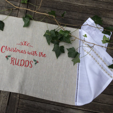 Linen and Letters Personalised Christmas Table Runner