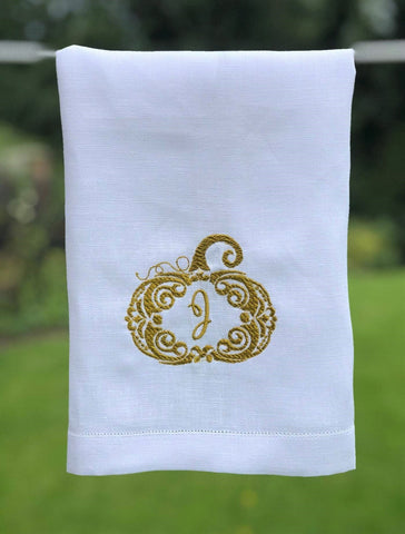 Thanksgiving Linen and Letters monogram kitchen towel embroidery