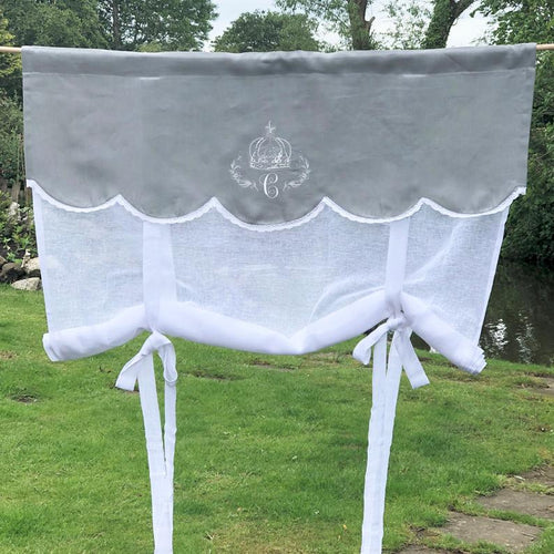 Grey Linen Tie Up Curtain with Crown Monogram 28 inches tall