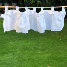 Load image into Gallery viewer, White Linen Ruffle Bow Valance