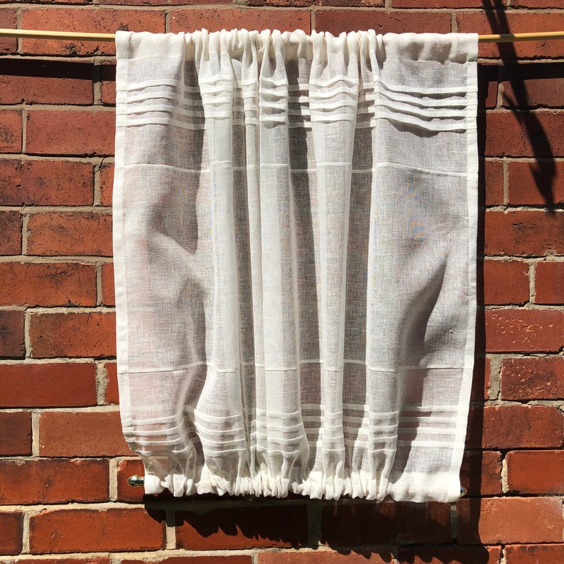 Sheer Ivory Linen Door Curtain