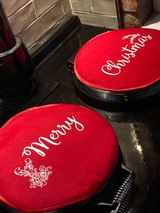Pair Merry Christmas Red Aga Lid Covers