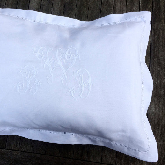 Personalised White Linen Pillowcase with Centre Embroidered Monogram