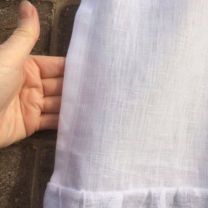 White Linen Ruffle Laundry Curtain