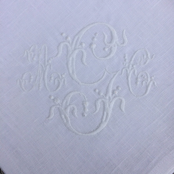 White Linen Napkin, Placemat & Coaster with French Monogram Hemstitched