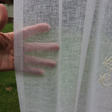 Load image into Gallery viewer, Sheer Linen Panel with Embroidered Monogram