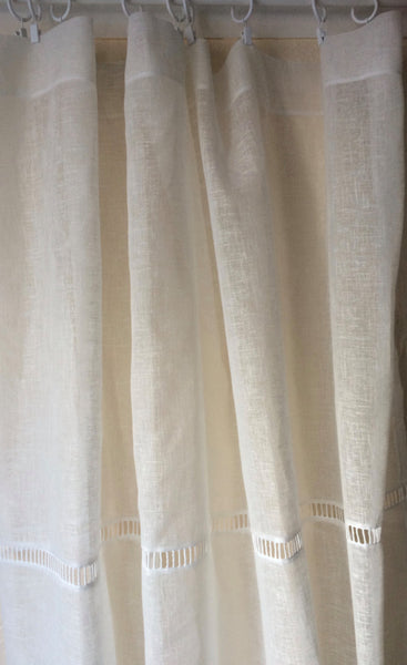 Tall Sheer Linen Curtain Ladder Trim