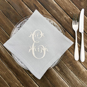 Grey Linen Napkins Hemstitched