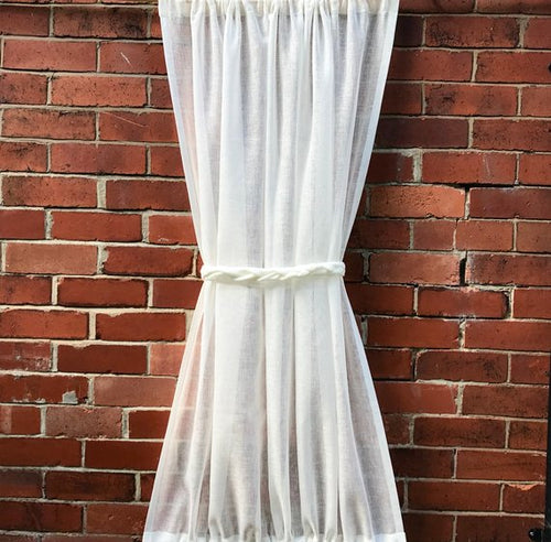 Narrow Ivory Off White Sheer Linen Sidelight Door Panel with optional Rope Tie
