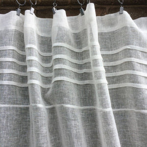 Cream Sheer Linen Window Curtain