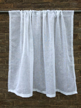 Load image into Gallery viewer, Sheer White Linen Cafe Curtain, Kitchen Panel