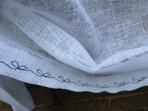 White Sheer Linen Tie Up Curtain with Delicate Flower Sketch Black Embroidery, Length 28""
