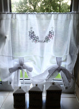 Load image into Gallery viewer, White Sheer Linen Tie Up Curtain with Delicate Flower Sketch Black Embroidery, Length 28""