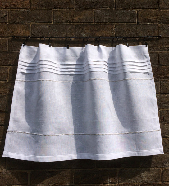 White Linen Cafe Curtain, French Window Curtain, Grey Kitchen Bistro Curtain, Privacy Bathroom Shade