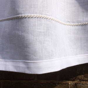 White Linen Cafe Curtain, French Window Curtain, Grey Kitchen Bistro Curtain