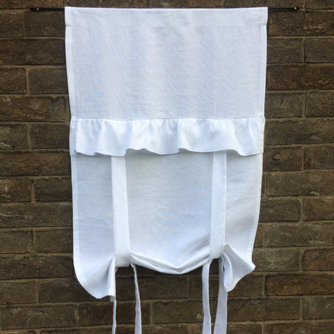 "Linen Tie up Curtain, White 100%  Flax Linen Ruffle Curtain, Romantic Bedroom Panel, 40"" Length"