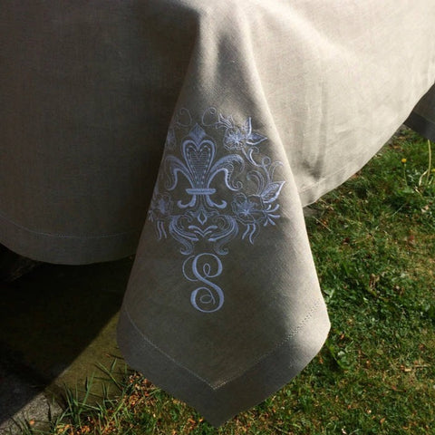 Natural Beige Linen Tablecloth, Hemstitched, White Monogram, Fleur de Lis Embroidery