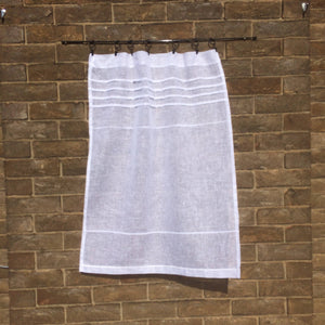 Sheer White Linen Panel, Bathroom Curtain, Shabby Chic Curtain