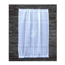Load image into Gallery viewer, Sheer white linen monogram sidelight and front door curtain for privacy