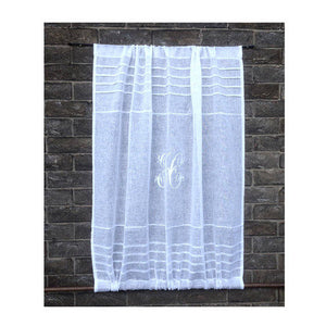 Sheer white linen monogram sidelight and front door curtain for privacy