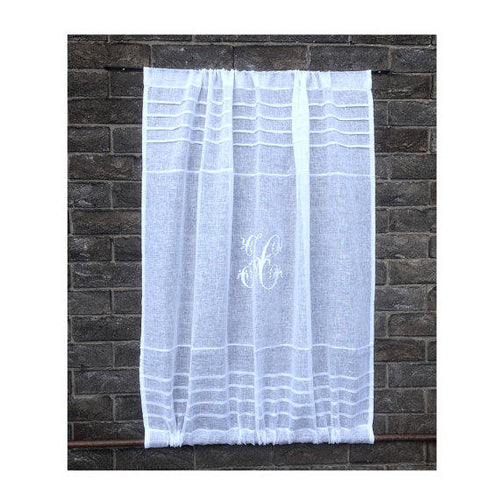 Sheer linen monogram sidelight and front door curtain for privacy