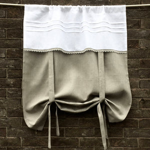 Natural Grey Linen Lace Tie Up Curtain
