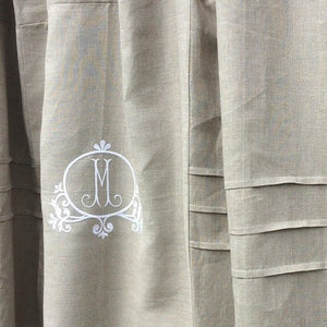 Monogram Natural Linen Lace Shower Curtain