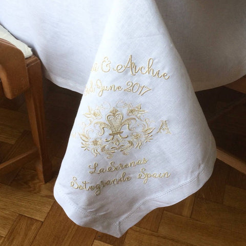 Personalized Wedding Tablecloth, White Linen Hemstitch, Gold Monogram Embroidery Fleur de Lis