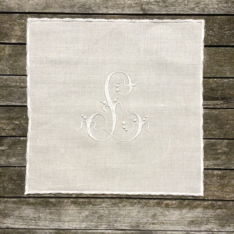 Monogram Scalloped Linen Placemat Sets, Natural Large Cloth Dinner Table Mat,  Personalized Embroidered Wedding, Antique French Font