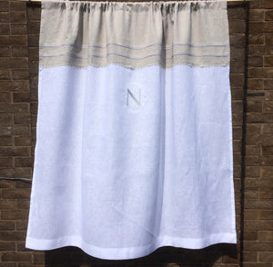 Natural White Linen Curtain Panel