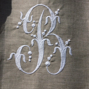 French Monogram Linen Lace Cafe Curtain