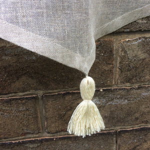 Natural Sheer Linen Cafe Curtain with Tassel