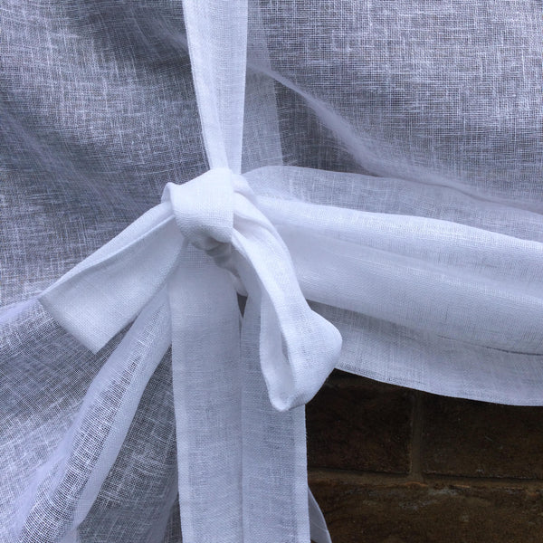 "White Linen Tie Up Curtain with Curly Monogram, Valance Curtain , Roll up Shade, 28"" length, Sheer Kitchen Curtain"