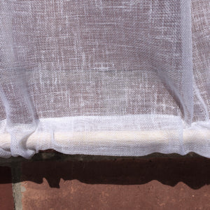 Sheer Linen Windwo Curtain, French Fleur de Lis Panel, White Linen Sash Window Privacy