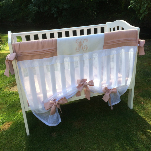 Musk Pink Baby Crib Rail Cover Set & Fitted Sheet