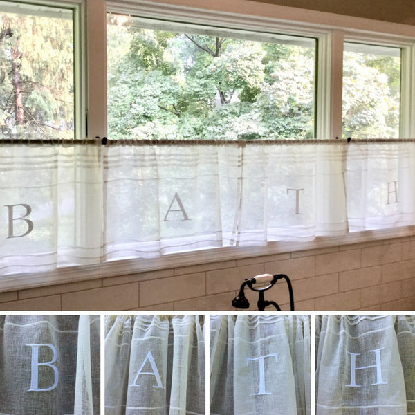 Cream BATH Embroidered Sheer Cafe Panels x 4 Set