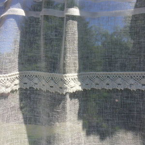 House Number Sheer Cream Linen Lace Front Door Curtain