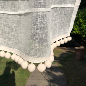 Custom Ivory Cream Sheer Linen Lace Cafe Curtain, Pompom Kitchen Curtain