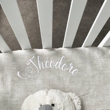 Load image into Gallery viewer, Personalized Crib Sheet Name, Linen Baby Fitted Sheet, Changing Mat Cover
