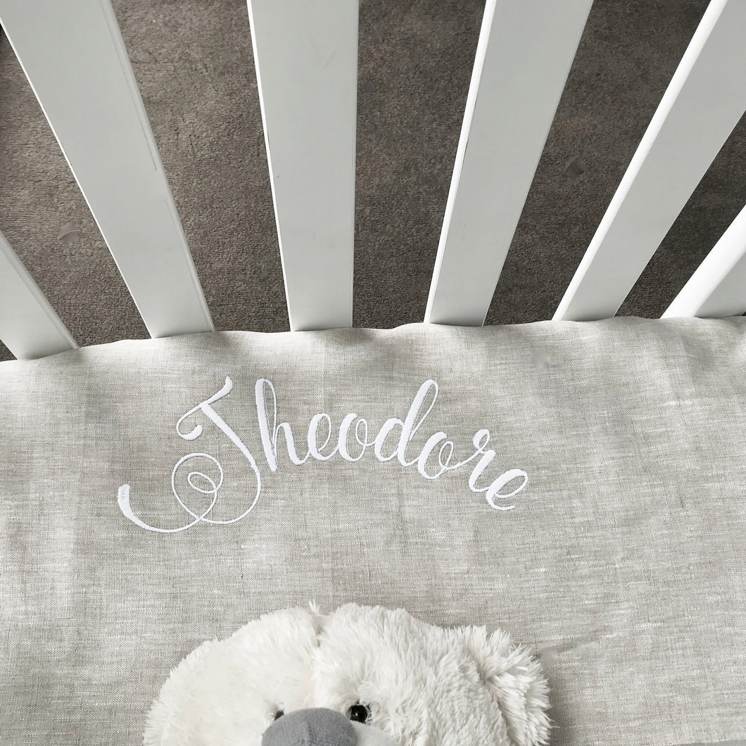 Personalized Crib Sheet Name, Linen Baby Fitted Sheet, Changing Mat Cover