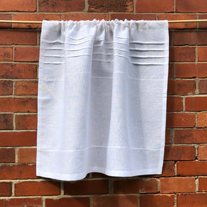 White Cafe Panel, 100% Flax Linen Curtain,  Paris Kitchen