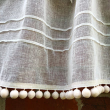 Load image into Gallery viewer, Sheer Cream Ivory Linen Kitchen Curtain, Pompom Net Curtain