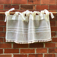 Load image into Gallery viewer, Custom Ivory Cream Sheer Linen Lace Cafe Curtain, Pompom Kitchen Curtain